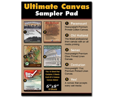 The Ultimate Canvas Sampler Pad gives you the opportunity to try 5 popular surfaces