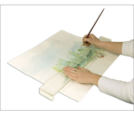This transparent shelf allows you to add detail and highlights onto your painting or drawing without smearing, smudging or soiling.
