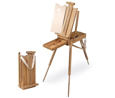 This beautiful easel easily folds down for storage and transport!