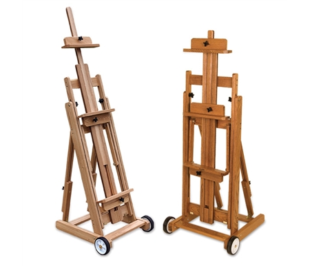 The Mirage Easel features varnished Elm Wood construction with oversized wheels.