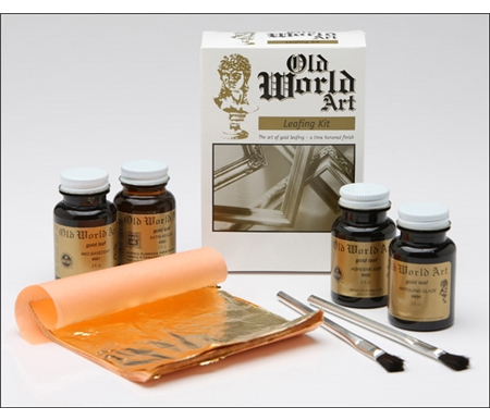 Includes 2 oz. jars of base coat, adhesive sizing, satin sealer, and glaze along with  composition German gold leaf, two brushes, burnishing cloth and instructions.