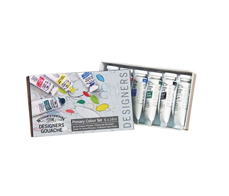 This wonderful Primary Set includes one 14 ml tube of each primary color, plus green, black and white.