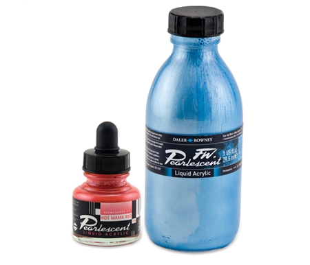FW Pearlescent inks are a unique range of 22 water based acrylic colours producing a shimmering pearl effect.