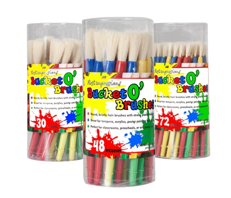 Sold in buckets of 72 Small, 48 Medium, 30 Large, and 48 Assorted brushes.