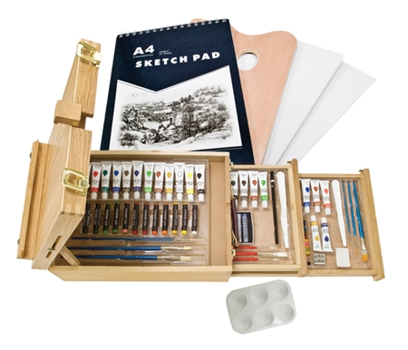 This exceptional set comes with everything you need to get started painting today, no matter what medium you may choose!