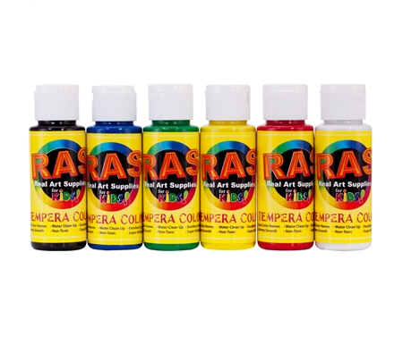RAS Tempera Paint Set of 6, 2 oz Bottles