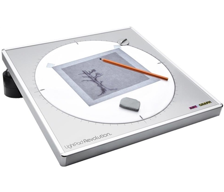 The Artograph LightPad Revolution features a super bright 360 degree revolving work surface!