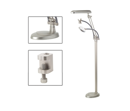 The OttLite 3-in-1 Floor Lamp is designed for ultimate functionality with a bonus magnifier and pattern clip!