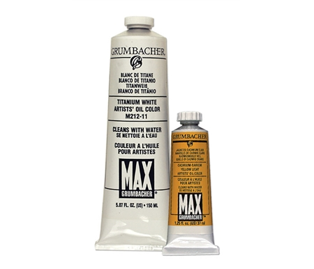 Grumbacher MAX Oil Paints in 37 ml tubes and 150 ml of Titanium White.