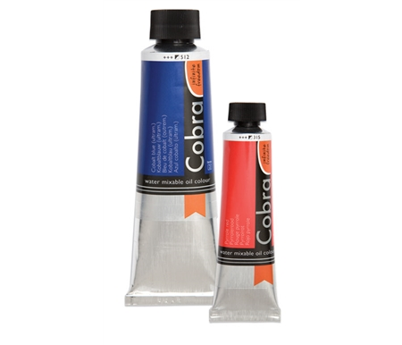 Cobra Oils are based on a modified, water-mixable oil binder, meaning that no harsh solvents, turpentine, or mineral spirits are necessary in the painting – or the clean-up – process.