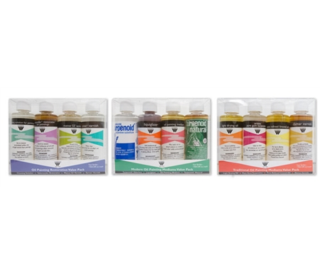Each convenient, portable set comes with four 4oz plastic bottles of mediums, solvents or varnishes.