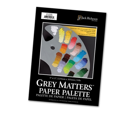 Unlike other white colored paper palettes the neutral grey background lets you see color as it will appear on your painting.
