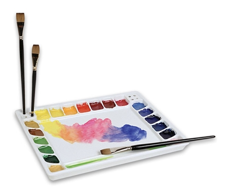 This large palette features corner holes to hold 8 brushes.
