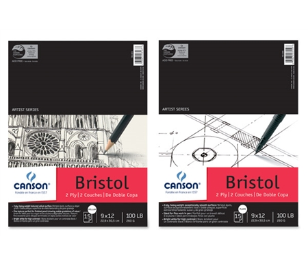 These heavyweight, 2-ply Bristol pads come in both super-smooth Plate and slightly toothy Vellum finish.