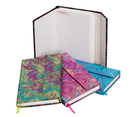 Silk Pocket Journals are hardbound and covered in colorful silken brocade for a bold and bright look.