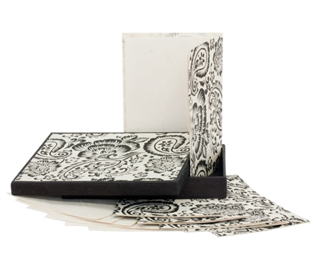 Black Paisley on Natural Paper