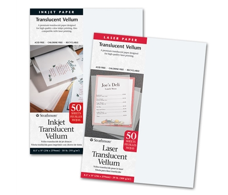 Strathmore provides vellum to use with inkjet or laser printers!