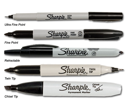 Sharpie markers are available with a wide range of tips.