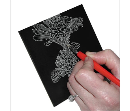 Scratch easily with controlled, clean, crisp white lines to create exquisite white on black art.