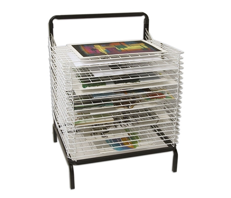 Stack-N-Dry Floor Drying Rack. Great for drying ink jet prints, watercolors, oil color or acrylic paintings greeting cards, postcards and more.