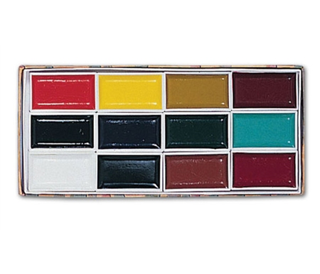 This set includes twelve colorfast, highly concentrated colors in reusable rectangular containers.
