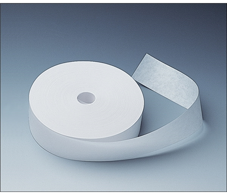This acid-free white adhesive tape is activated by wetting the back.