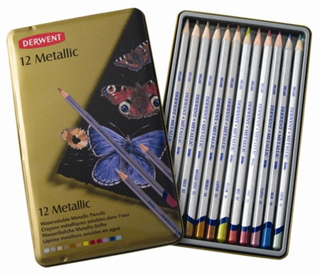 Derwent Studio Metallic Watercolor Pencils Tin Set of 12