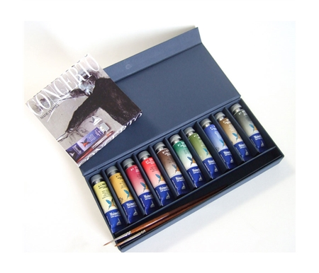 MaimeriBlue Superior Watercolor Presentation Set of 10 Tubes with 2 Brushes