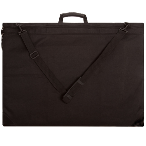 This sturdy portfolio is made from heavy duty, water-resistant black nylon fabric with vinyl reinforced corners for durability.