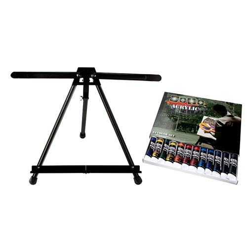 SoHo Acrylic 24 Color Value Set plus SoHo Table Easel