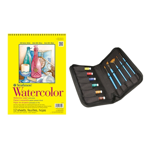 Aquafine Brush and Paint Set Deluxe with 300 11x15 Watercolor Pad