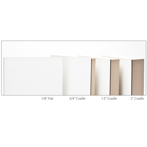 Mimicking the gallery-style look and depth of standard canvases, 1.5 Cradle Claybord is the perfect support for multimedia artists looking for a smooth and versatile painting panel with standard gallery-accepted dimensions.