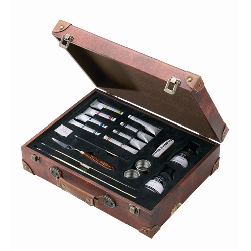 Each set is packaged in a wooden box with that well-traveled look!