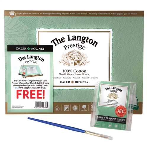 Limited time special offere! Cold Press Watercolour Block with FREE Artist Trading Cards and a Sapphire Round #4 brush.