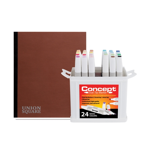 Concept Marker 24 Color Bonus Pack with Union Square Heavyweight Drawing Pad