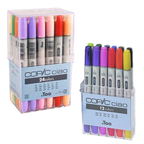 COPIC Ciao Markers - Sets of 12 and 24 Basic Colors