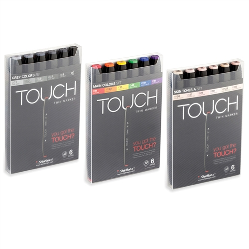ShinHan TOUCH TWIN Art Marker Broad Chisel / Fine Bullet Tips - Sets of 6