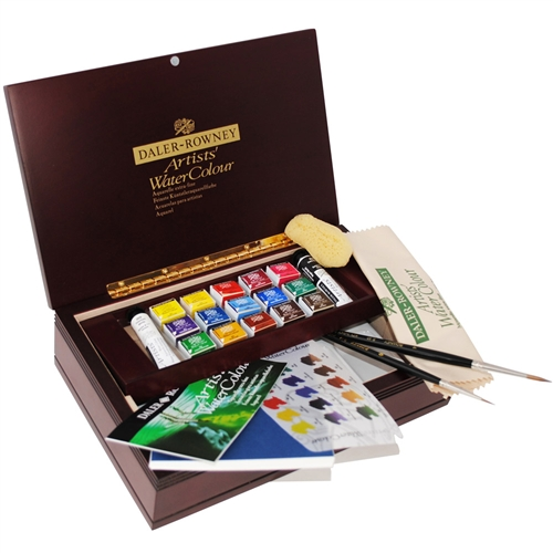 Perfect for both beginner and experienced artists alike, the Daler-Rowney Artists' Watercolor Wood Box Sets make ideal gifts!