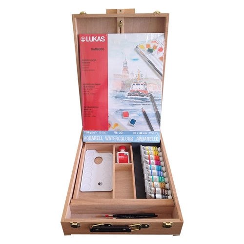Lukas Aquarelle 1862 Deluxe Wood Easel Box Set