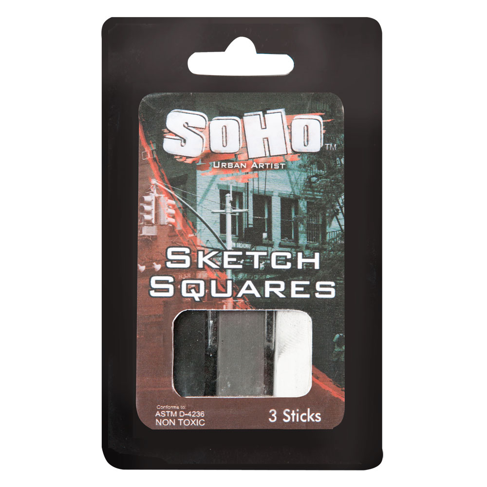 SoHo Urban Artist Drawing Charcoal and Sketch Squares