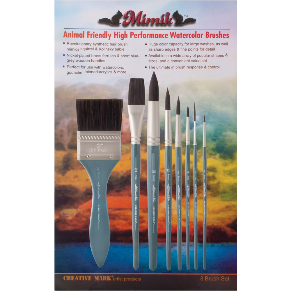 Mimik Synthetic Watercolor Brushes Value Set of 8