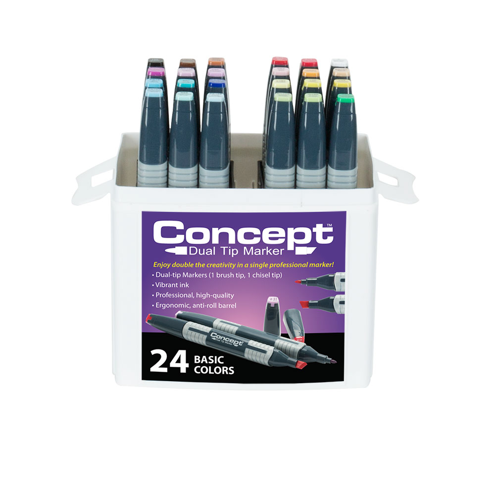Concept Dual-Tip Art Markers and Sets