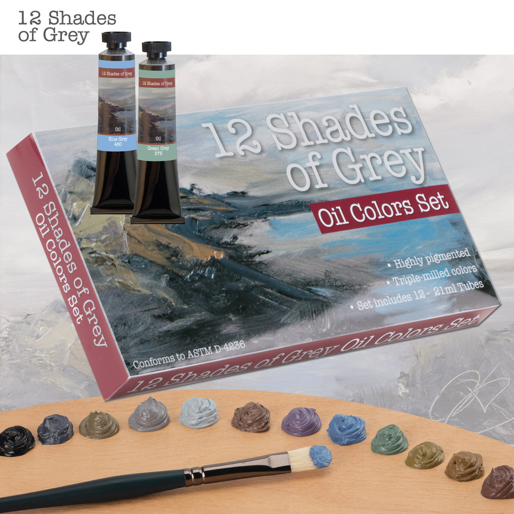 12 Shades Of Grey Oil Colors Set of 12