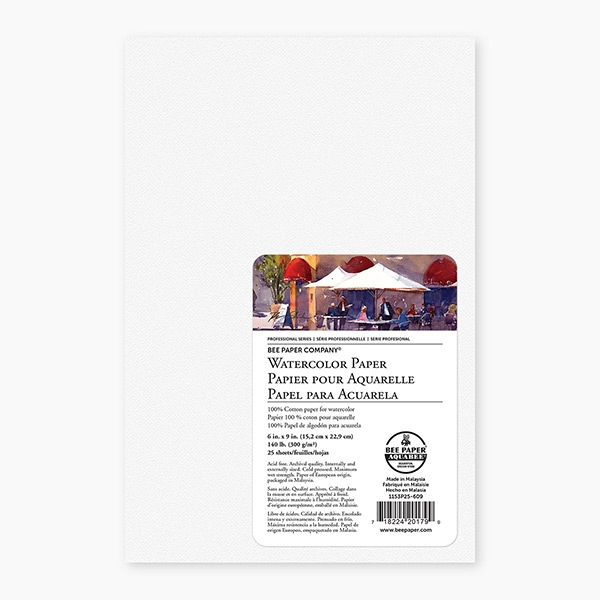 1136T15-912 Bee Paper Cold Press 140 Pound Watercolor Paper Pad 9-Inch by 12-Inch