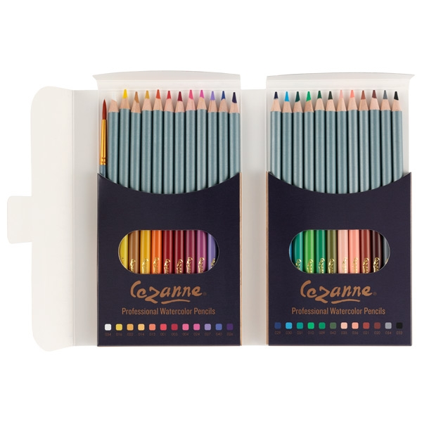 Cezanne Premium Watercolor Pencil Set of 24 with Brush