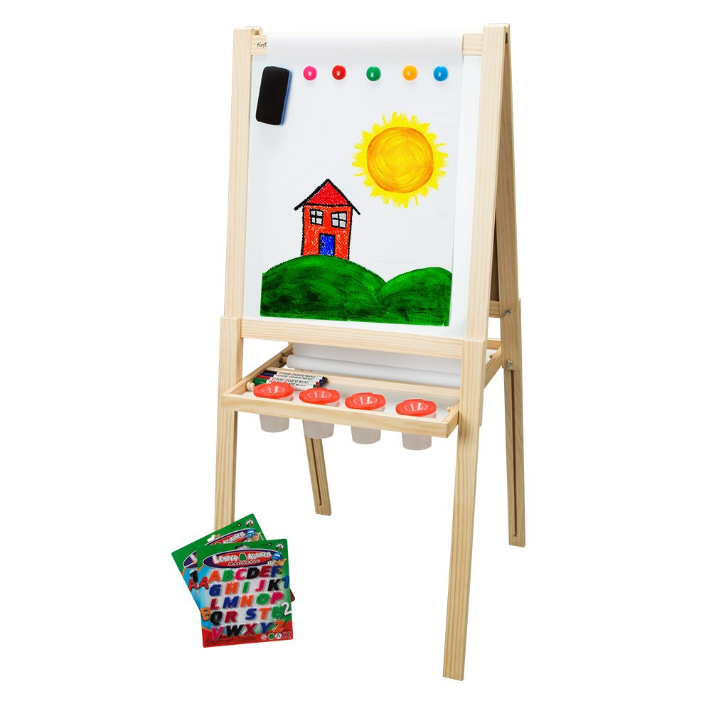 children s double sided wood easel w accessories first impressions
