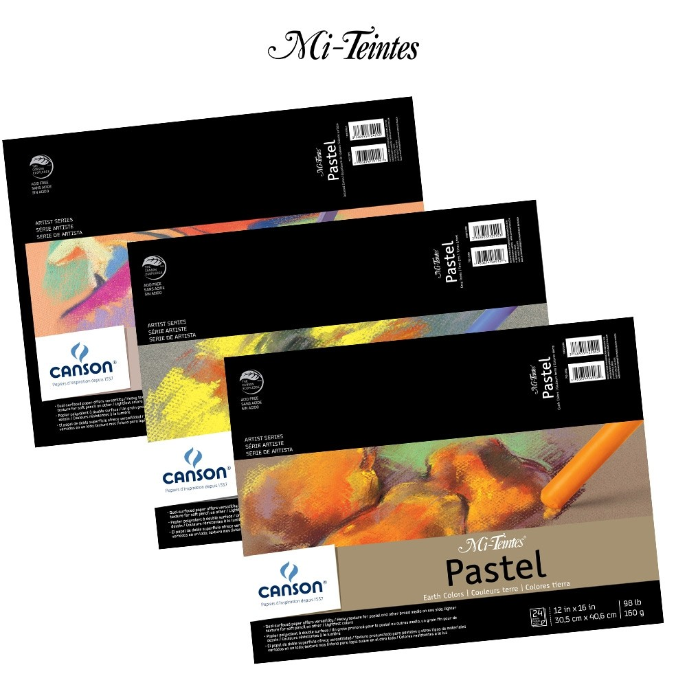 12 x 16 Inches Assorted Colors 98 lb 24 Sheets Canson Mi-Teintes Drawing Pad