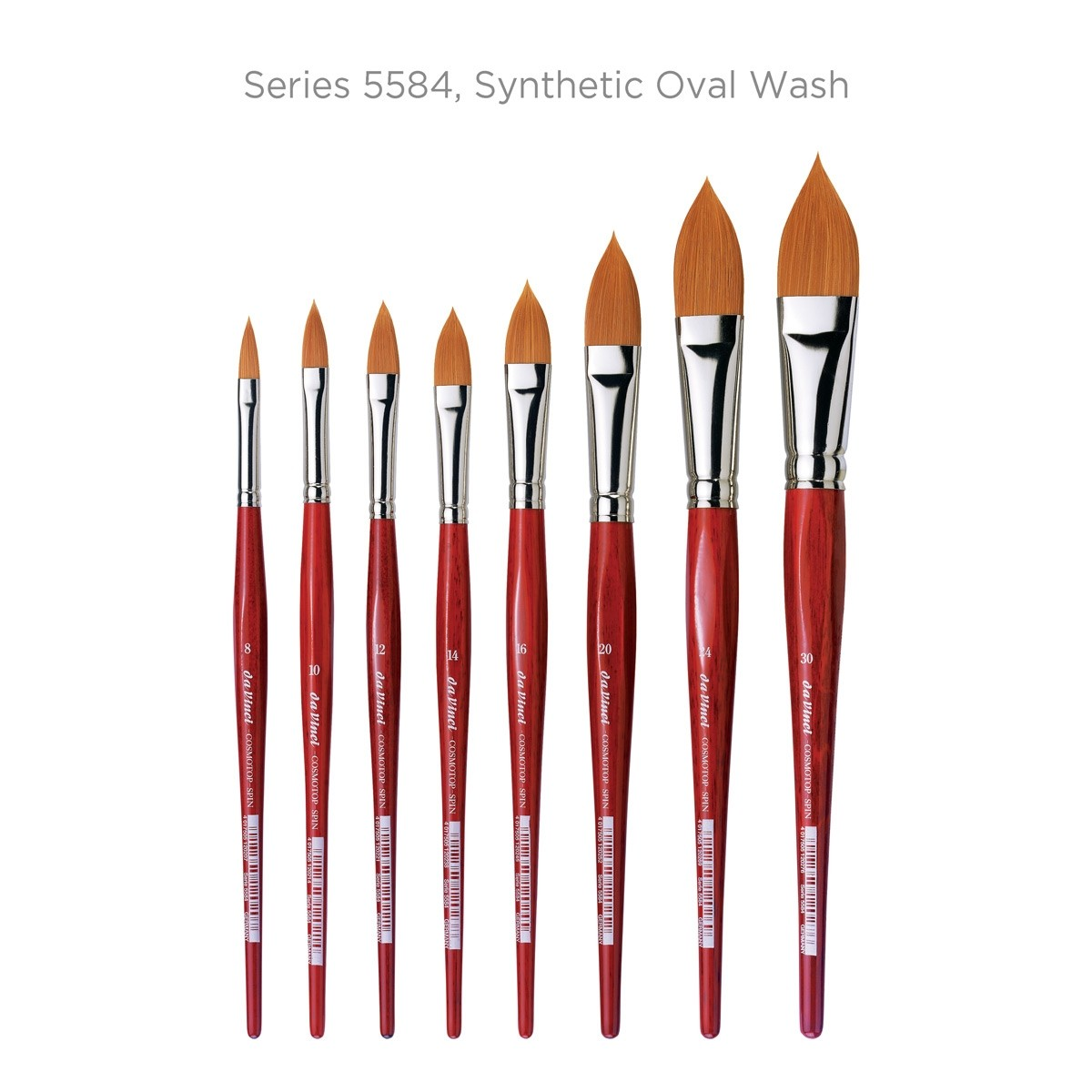 Flat Synthetic with Red Handle 5880-02 Size 2 da Vinci Watercolor Series 5880 CosmoTop Spin Paint Brush