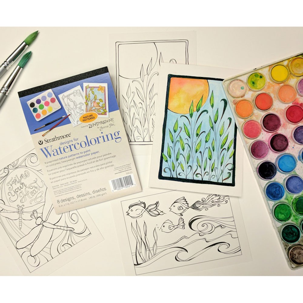 Strathmore Designs for Watercoloring Printed Watercolor Pads ...