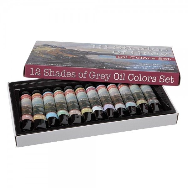 12 Shades of Grey Oil Paint Set of 12